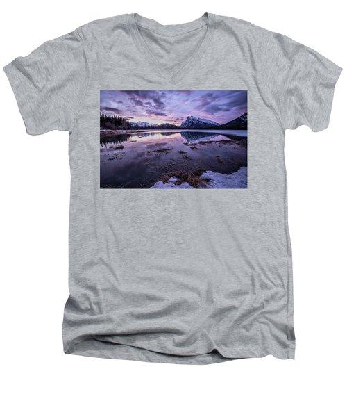 Rundle Mountain Skies Men's V-Neck T-Shirt