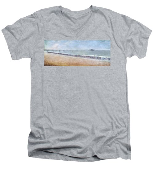 Men's V-Neck T-Shirt featuring the photograph Runners On The Beach Panorama by David Zanzinger