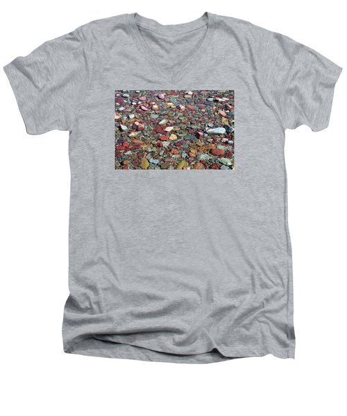 Men's V-Neck T-Shirt featuring the photograph Running Eagle Falls 2 by Dacia Doroff