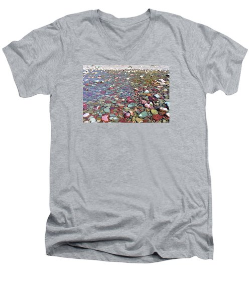 Men's V-Neck T-Shirt featuring the photograph Running Eagle Falls by Dacia Doroff