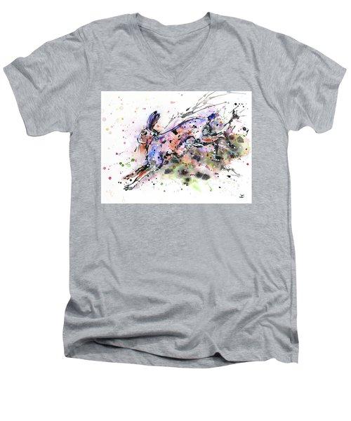 Running Hare Men's V-Neck T-Shirt by Zaira Dzhaubaeva