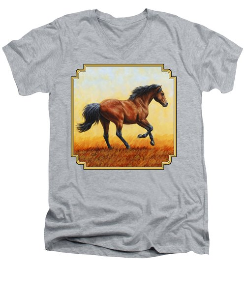 Running Horse - Evening Fire Men's V-Neck T-Shirt by Crista Forest