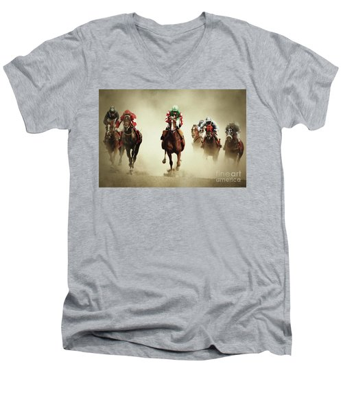 Running Horses In Dust Men's V-Neck T-Shirt