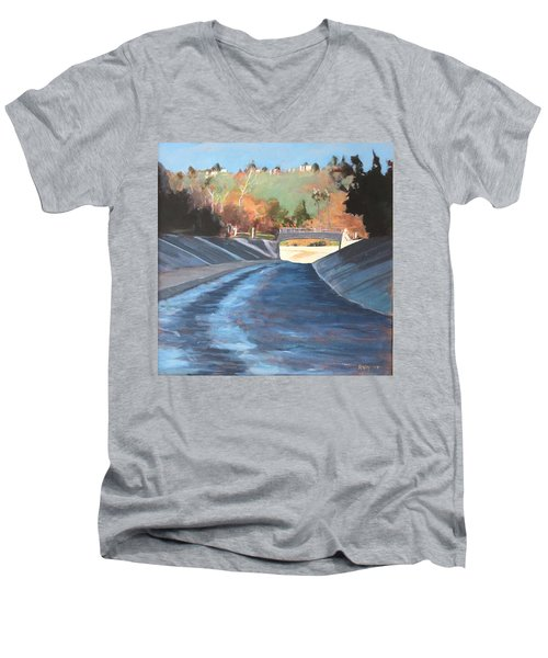 Running The Arroyo, Wet Men's V-Neck T-Shirt by Richard Willson
