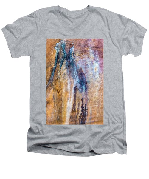 Men's V-Neck T-Shirt featuring the photograph Runoff Abstract, Bhimbetka, 2016 by Hitendra SINKAR