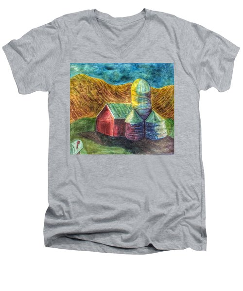 Men's V-Neck T-Shirt featuring the painting Rural Farm by Jame Hayes