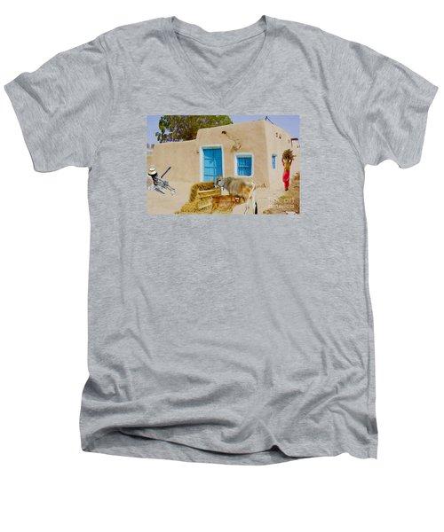 Rural Life  Men's V-Neck T-Shirt by Manjot Singh Sachdeva