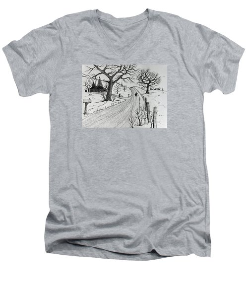 Men's V-Neck T-Shirt featuring the drawing Rural Living by Jack G Brauer