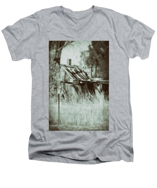 Men's V-Neck T-Shirt featuring the photograph Rural Reminiscence by Linda Lees