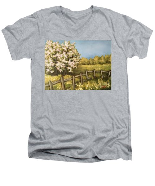 Men's V-Neck T-Shirt featuring the painting Rural Spring by Inese Poga