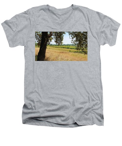 Men's V-Neck T-Shirt featuring the photograph Rural Tuscany by Valentino Visentini