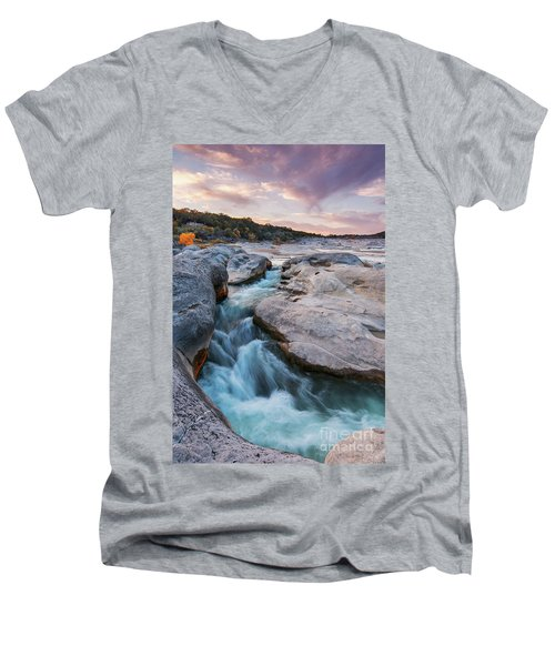Rushing Waters At Pedernales Falls State Park - Texas Hill Country Men's V-Neck T-Shirt
