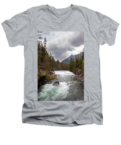 Men's V-Neck T-Shirt featuring the photograph Rushing Waters by Fran Riley