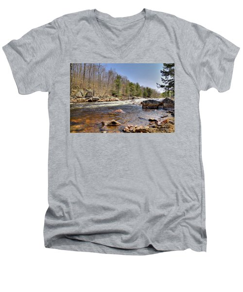 Men's V-Neck T-Shirt featuring the photograph Rushing Waters Of The Moose River by David Patterson