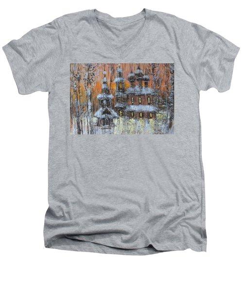 Russian Church Under Snow Men's V-Neck T-Shirt