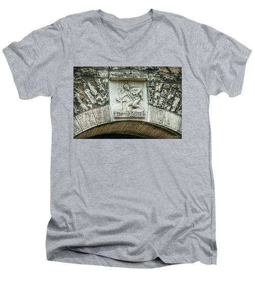Men's V-Neck T-Shirt featuring the photograph Russian To Swiss Dialect Translation by Hanny Heim
