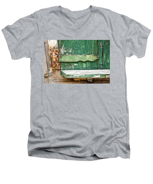 Men's V-Neck T-Shirt featuring the photograph Rust And Paint by Allen Carroll