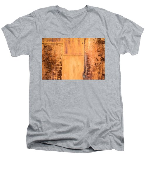 Men's V-Neck T-Shirt featuring the photograph Rust On Metal Texture by John Williams