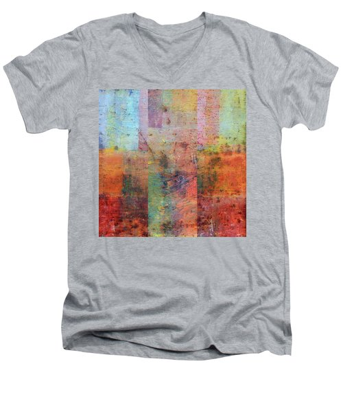 Men's V-Neck T-Shirt featuring the painting Rust Study 1.0 by Michelle Calkins