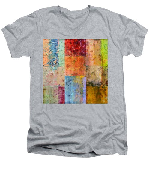Men's V-Neck T-Shirt featuring the painting Rust Study 2.0 by Michelle Calkins