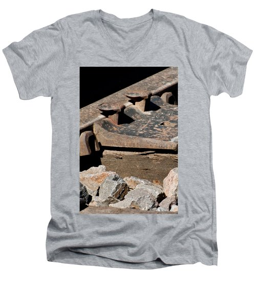 Men's V-Neck T-Shirt featuring the photograph Rusted Rail by Colleen Coccia