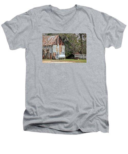 Rusted Tin Shed In Burnt Corn Men's V-Neck T-Shirt by Lynn Jordan