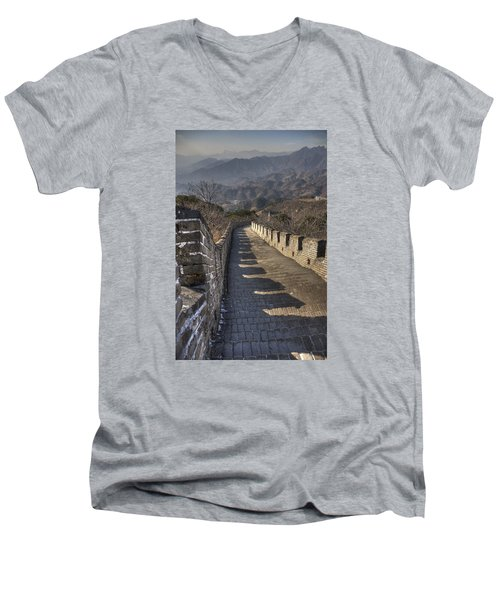 Men's V-Neck T-Shirt featuring the photograph Rusti  Great Wall Hdr by Matthew Bamberg