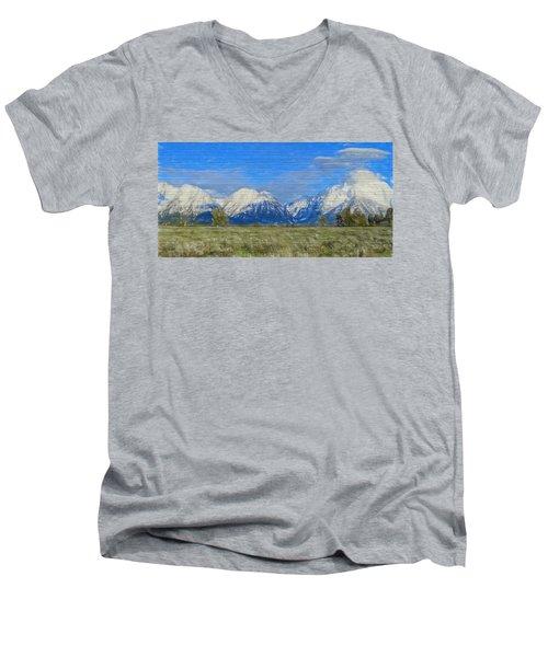 Rustic Grand Teton Range On Wood Men's V-Neck T-Shirt by Dan Sproul
