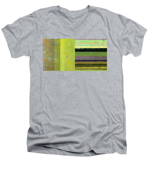 Men's V-Neck T-Shirt featuring the painting Rustic Green Flag With Stripes by Michelle Calkins