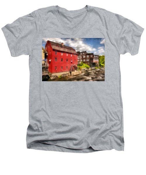 Rustic Historic Grist Mill Littleton, Nh Men's V-Neck T-Shirt by Betty Denise