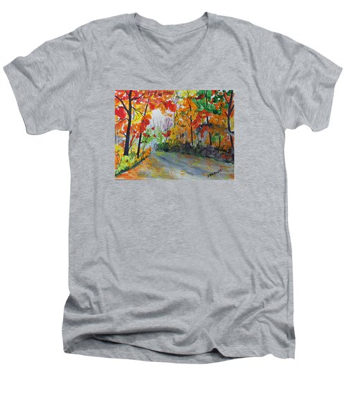 Men's V-Neck T-Shirt featuring the painting Rustic Road by Jack G  Brauer