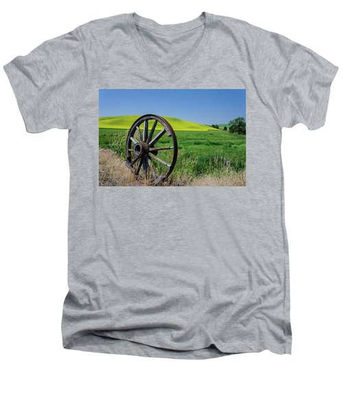 Rustic Wagon Wheel In The Palouse Men's V-Neck T-Shirt by James Hammond