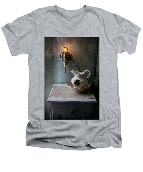 Rustic Water Closet With Brass Sconce And A Pretty Floral Patter Men's V-Neck T-Shirt