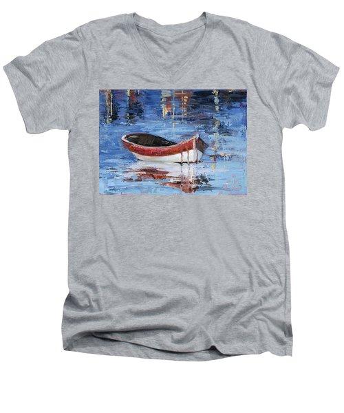 Rusty Brown Blues Men's V-Neck T-Shirt by Trina Teele