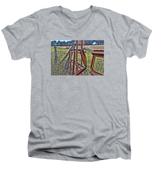 Rusty Gate Men's V-Neck T-Shirt by Pat Cook