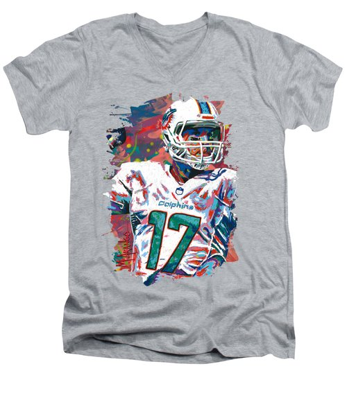 Ryan Tannehill Men's V-Neck T-Shirt by Maria Arango