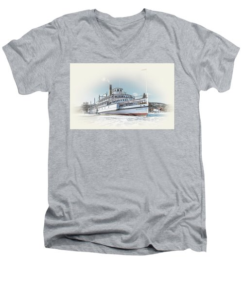 Men's V-Neck T-Shirt featuring the photograph S. S. Sicamous II by John Poon