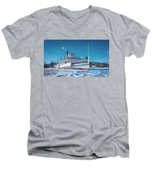 Men's V-Neck T-Shirt featuring the photograph S. S. Sicamous by John Poon