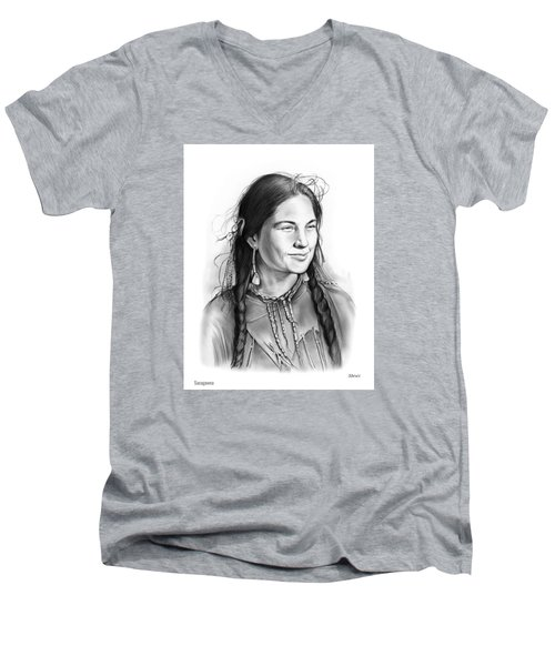 Sacagawea Men's V-Neck T-Shirt by Greg Joens