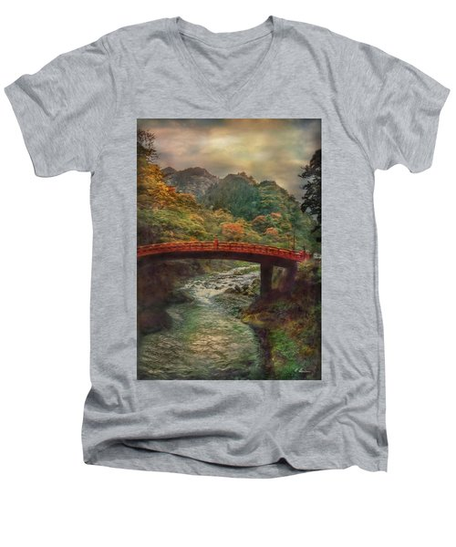 Men's V-Neck T-Shirt featuring the photograph Sacred Bridge by Hanny Heim