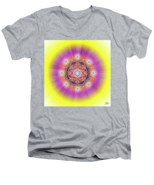 Sacred Geometry 643 Men's V-Neck T-Shirt by Endre Balogh