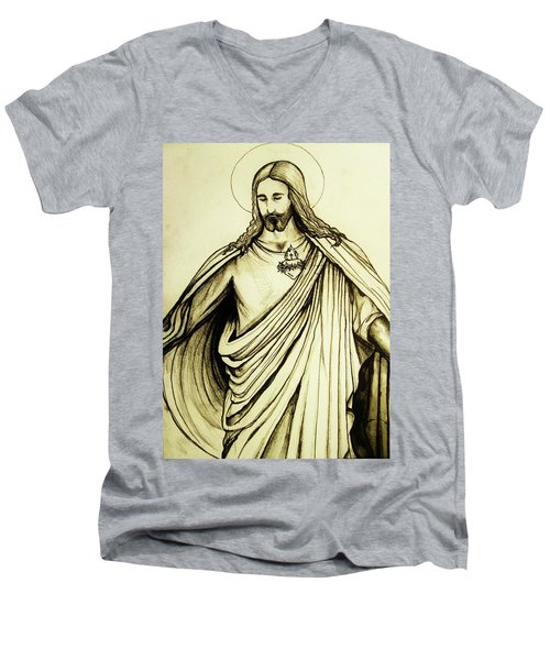 Sacred Heart Men's V-Neck T-Shirt by Mary Ellen Frazee