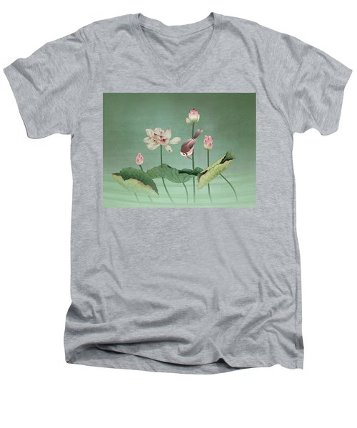Sacred Lotus Flower Men's V-Neck T-Shirt