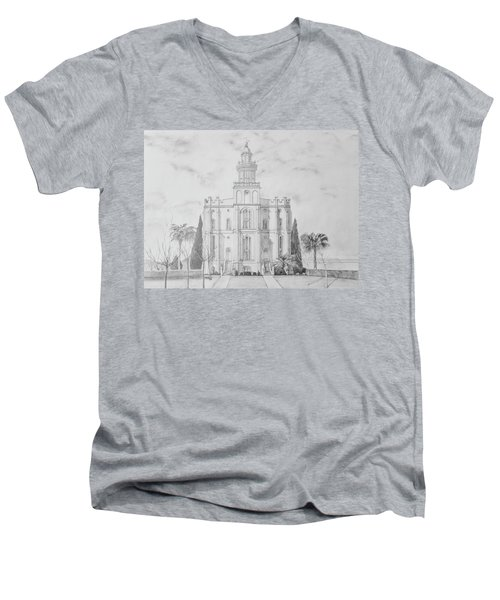 Sacred Steps - St. George Temple Men's V-Neck T-Shirt