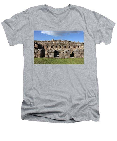 Men's V-Neck T-Shirt featuring the photograph Sacsaywaman Cusco, Peru by Aidan Moran