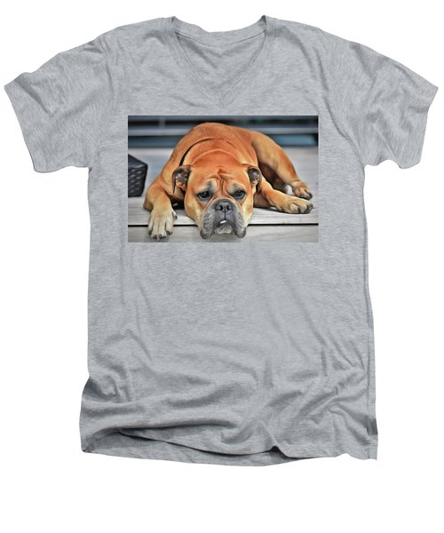 Men's V-Neck T-Shirt featuring the painting Sad Boy by Harry Warrick