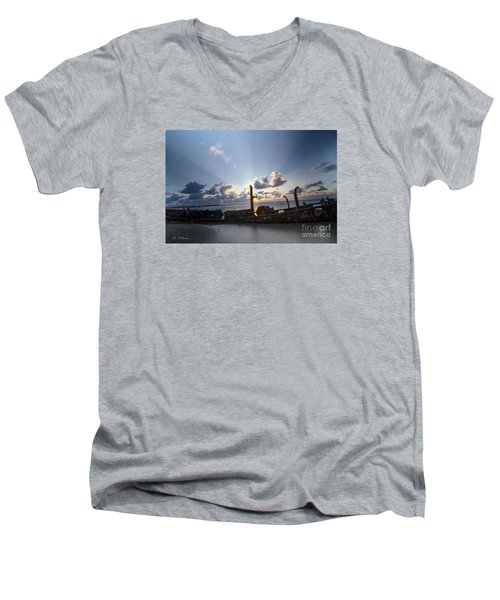 Men's V-Neck T-Shirt featuring the photograph Safe Shore 02 by Arik Baltinester