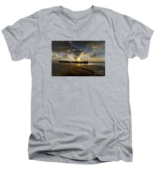 Men's V-Neck T-Shirt featuring the photograph Safe Shore 04 by Arik Baltinester