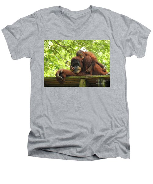 Men's V-Neck T-Shirt featuring the photograph Safe With Mom by Lisa L Silva