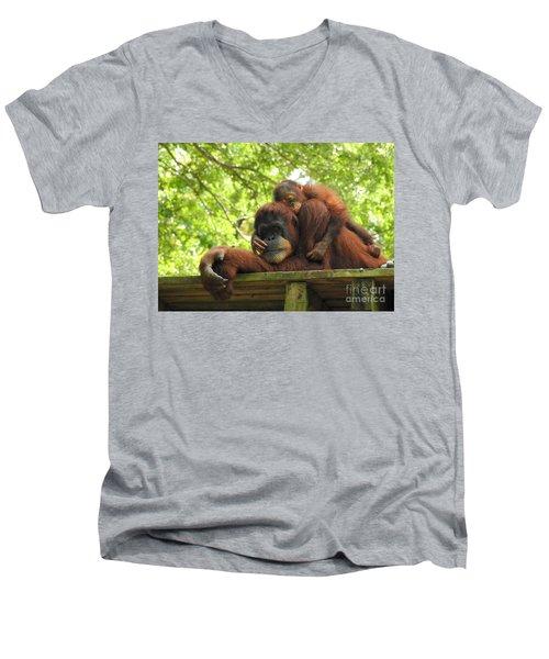 Safe With Mom Men's V-Neck T-Shirt by Lisa L Silva